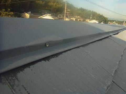 鉄板屋根材台風対策 クギ打ち込み 合計15カ所