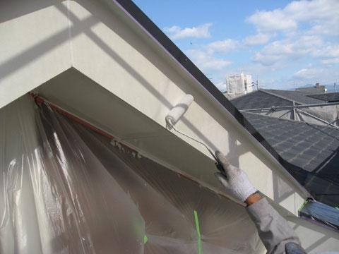 熊本市外壁塗装状況。幕板の下塗り