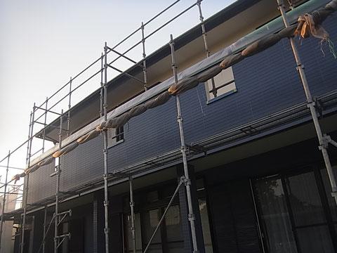 熊本市東区I様家外壁塗装・屋根塗装時。外壁塗装中。