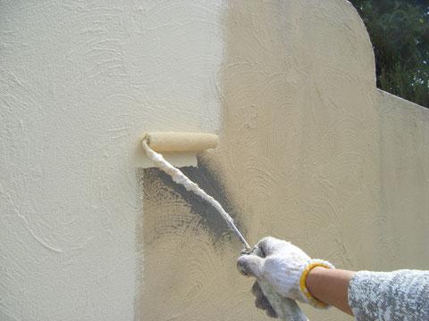 熊本H様邸 塀塗装 汚れにくい セルフクリーニング効果 ビュークリーンDX