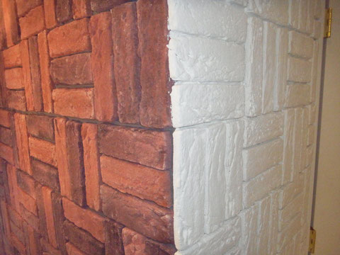 レンガ塗り替え ホワイト 室内塗装