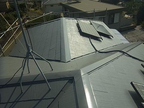 コロニアル屋根の遮熱塗装完成。 高耐久塗料使用。 熊本I様邸