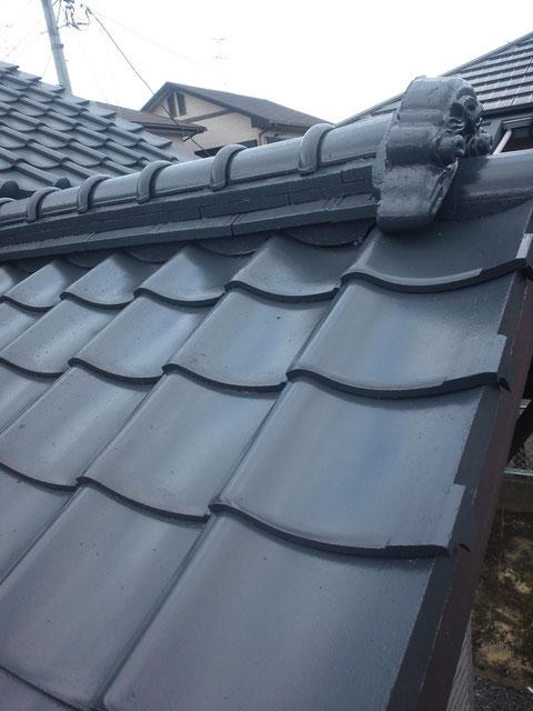 熊本県塗装実績 瓦屋根塗装完成。