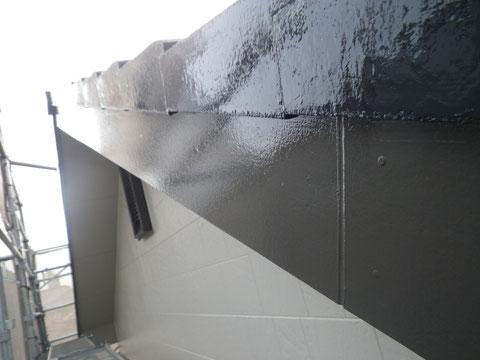 熊本市N様家の外壁塗装及び屋根塗装時。幕板の塗り替え完成です。接写で撮影。