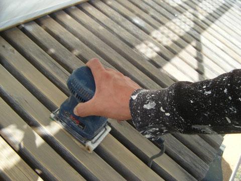 熊本H様邸外壁塗装後のウッドデッキ濡れ縁塗装