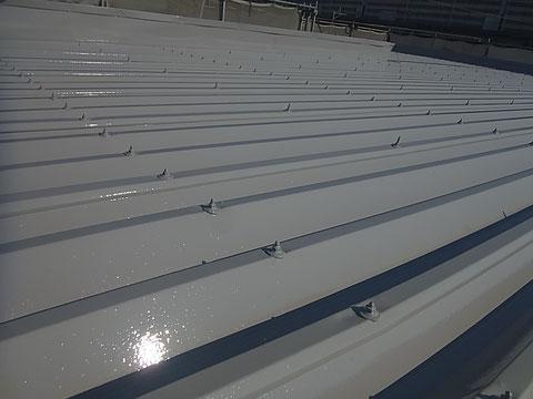 屋根塗装仕上がりを接写で撮影
