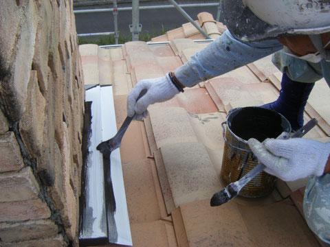 エントツ鉄板水切り塗装 関西ペイント使用