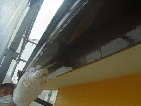 破風板塗り替え状況。