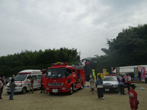 パトカー・消防車・救急車が集結。 熊本長嶺
