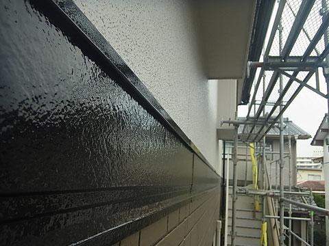 熊本市東区のお家外壁塗装時。サイディング帯板の塗り替え完成。美しく仕上がりました。