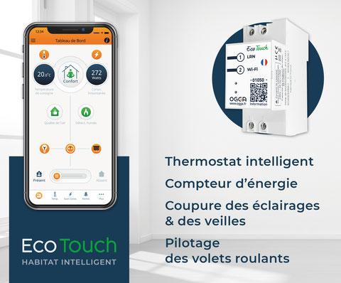 Eco-Touch : un thermostat intelligent dans un logement connecté pour une meilleure efficacité énergétique. Il permet une gestion automatisée du chauffage et des élcairages, un contrôle à distance des volets roulants et un suivi de consommation.