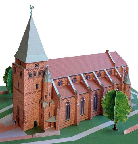 Ein Papiermodell der Felicianuskirche in Weyhe, als Bastelbogen konzipiert von Monno Marten