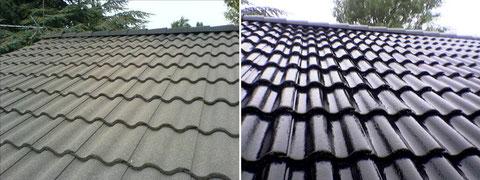 Isonit Hochglanz Dachbeschichtung vorher - nachher