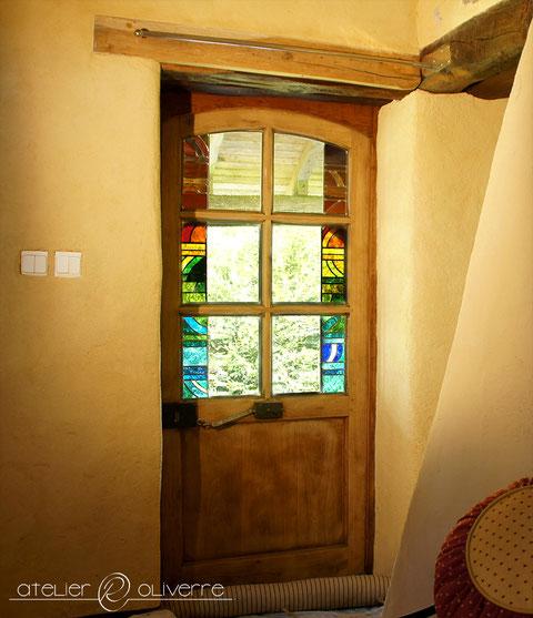 vitrail porte arc en ciel atelier olivette