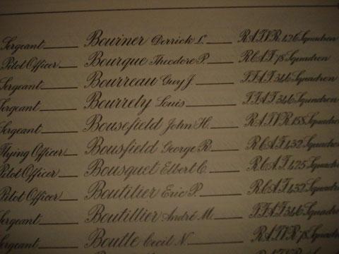 Le nom de Bourreau dans le livre d'or des pertes de la RAF