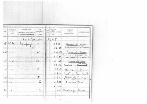 Page du mois de janvier 1945 carnet de vol