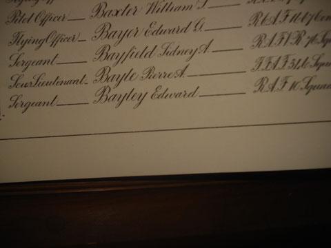 Le nom de Bayle dans le registre des pertes
