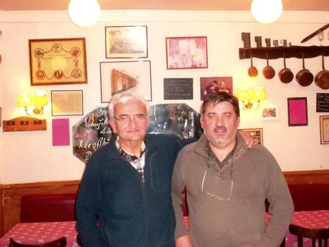 Jacques Gazel et Jean Michel Gravaud  à Lyon en  décemebre 2012 lors de leur première rencontre après deux ans de travail en commun déjà sur l'équipage