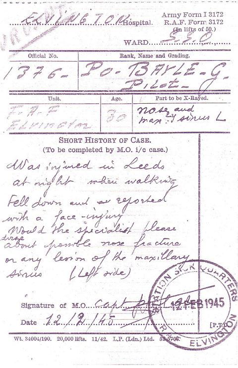 Rapport médical blessure au nez le 12 février 1945