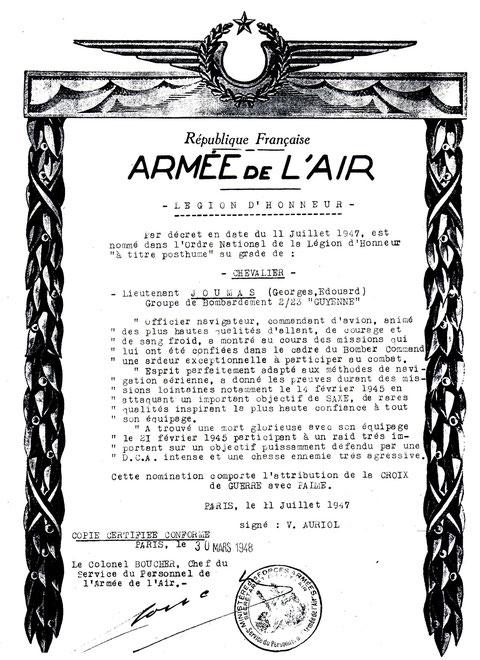 citation du Lieutenant Joumas pour Légion d'Honneur