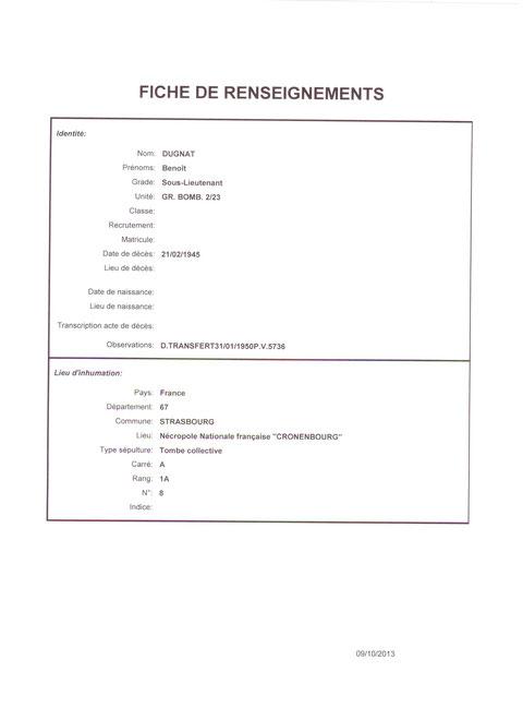 Fiche Dugnat transfert corps verc Cronenbourg la date est du 31/01/1950...