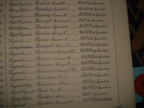 Le nom de Barde dans livre d'or des pertes