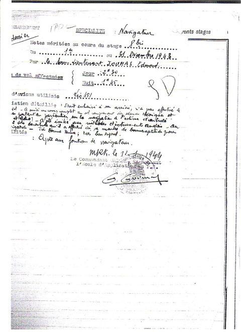 Note de fin de stage EPNA Marakech 1943