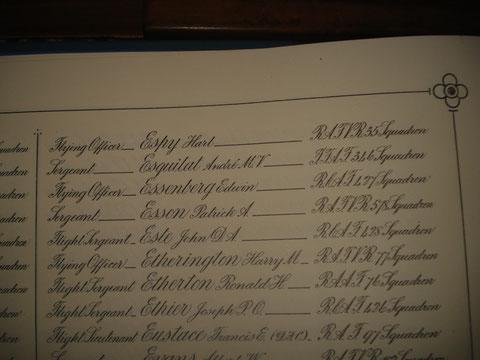 Le nom de Esquilat dans le livre d'or des pertes de la RAF