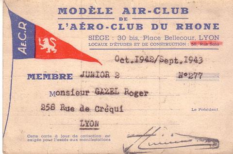 Carte de la section de modélisme de l'Aéroclub du Rhône de mon père. Esquilat devait posséder la même