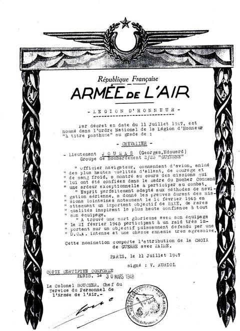 Citation pour l'attribution de la Légion d'Honneur