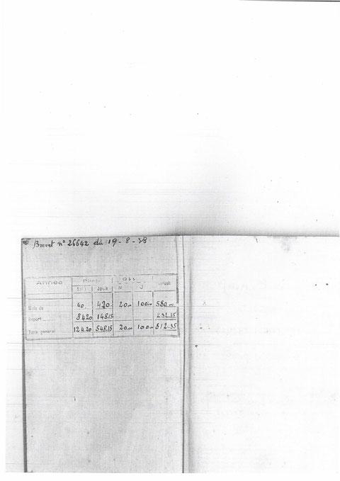 1 ère page du carnet de vol de Dugnat