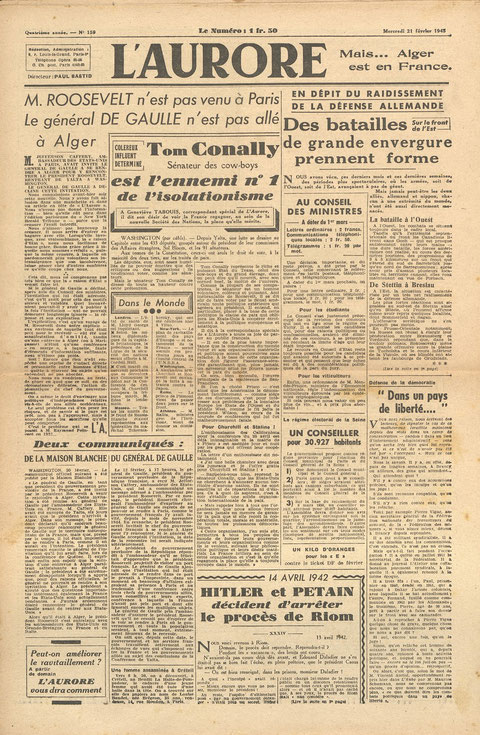 Première page  d'un journal français du 21/02/1945