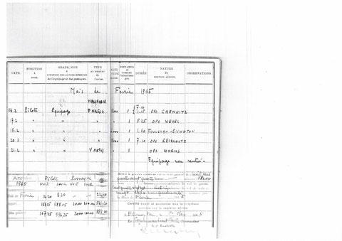 """page du mois de février 1945...""""Equipage non rentré"""""""