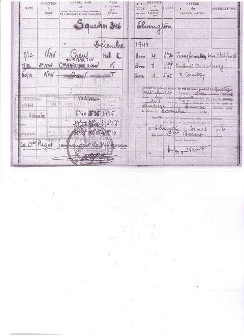 Première page du carnet de vol du Lt Joumas à Elvington