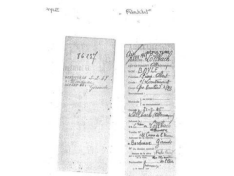 Fiche restitution cercueil Bayle Bordeaux