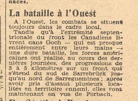 La bataille à l'Ouest relatée par ce journal du 21/02/1945