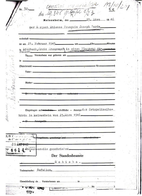 Certificat de police allemand de la chute de l'avion