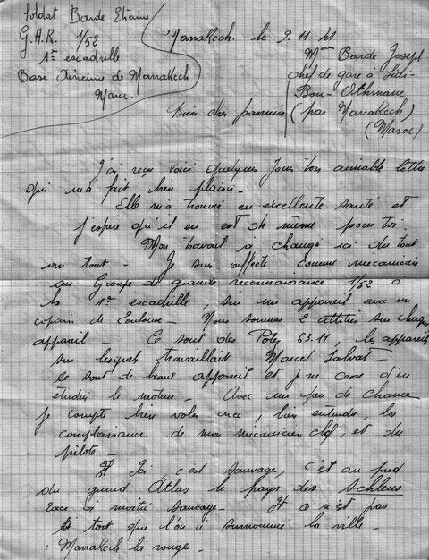 Lettre à son parrain de Marrakech novembre 1941