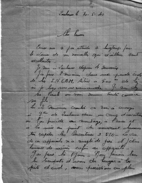Lettre de Barde à son parrain du 25 mai 1940 alors qu'il travaille aux usines Dewoitine ( SNCAM)    1/2