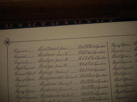 Le nom de Martrou sur le registre des pertes