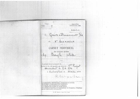 Page de garde du Carnet de Vol au squdron 346 GB II/23 Guyenne On notera sur les documents  les deux identifications anglaise (346) et française(GB 2/23) ainsi que l'erreur de notation 2/23 au lieu de II/23  exacte en haut du document et erronée en bas...
