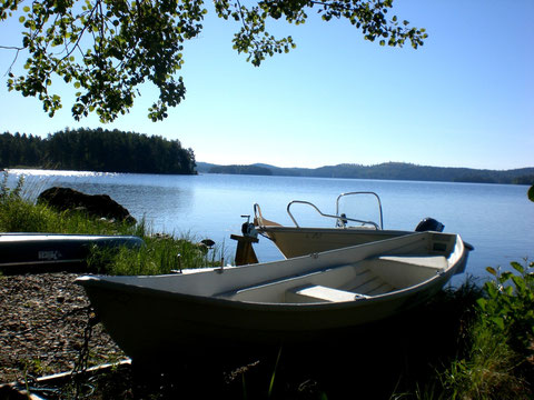"""Nichts wie raus auf den weiten See mit einem unserer 3 Boote! Am Päijänne wird das bewaldete Ufer finnlanduntypisch auch mal """"bergiger""""."""