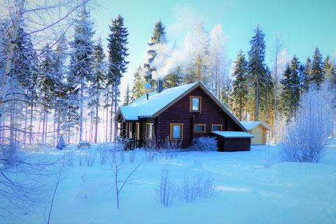 Winter Ferienhaus Finnland See