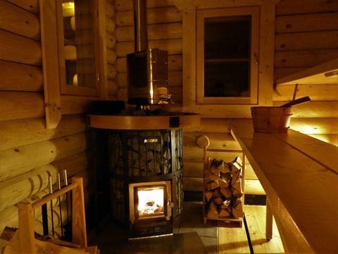 Finnland traditionelle Sauna innen