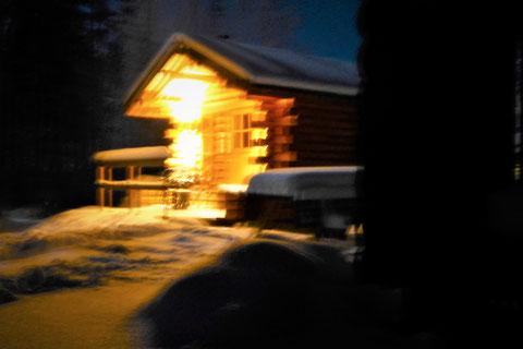 Winter Nacht Sauna Finnland