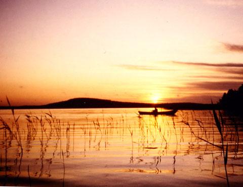 """Entspannen Sie beim Angeln im eigenen Boot in der Morgendämmerung  an den Schilfzonen der Bucht vor dem Haus. Im Hintergrund der 1,5 km vom Haus entfernte """"Berg"""" mit Aussichtsturm der Insel Päijätsalo bei Sonnenaufgang."""