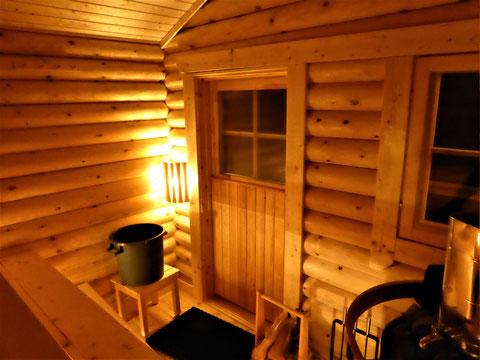Blockbohlen Sauna Finnland innen