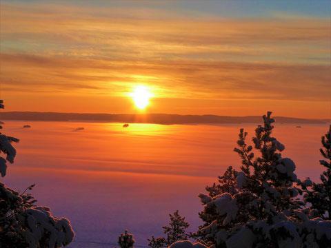 Ihr Sonnenuntergang in polaren Gefilden! Dann mit unseren Schneeschuhen oder All Terrainski zurück ins warme Mökki in die dampfende Sauna oder gemütlich vor dem flackernden Feuer des Kaminofens im Wohnzimmer. Blick vom 1,5 km entfernten Turm auf den See.