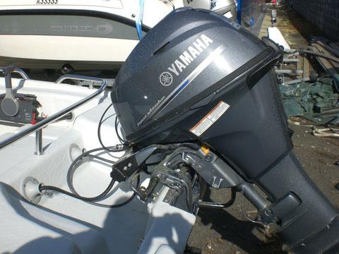 Motor mit Hebeanlage. Wegen Wasserkühlung und Schmierung bitte Motor erst anlassen, wenn sich die Schraube im Wasser befindet.