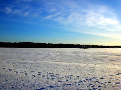 Das könnten Ihre Langlaufspuren auf dem See vor dem Haus sein. 2 Langlauf-Ski sind im Ferienhaus vorhanden.